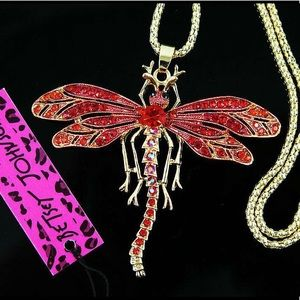 Dragonfly Pendant Necklace Red Crystal Enamel